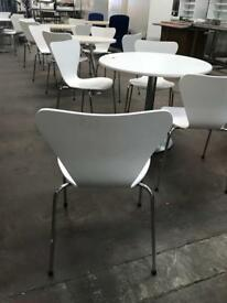 White Round White Table 800mm with 4 White Bistro Chairs