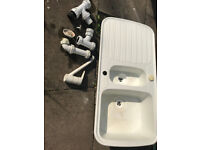 White SMC Synthetic Kitchen Sink & Waste 98 X 49 CM WITH FREE TAP AND ACCESSORIES