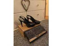 Sparkly heels with matching bag!!
