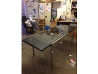 Large Black/Stainless steel Glass Dining Table