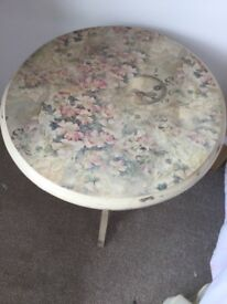 Small round side table,pained cream