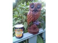 Large Quality carved Acacia Wood Owl 30cm