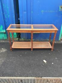 1970's Long Glazed Console Table with Rattan shelf. For Light restoration.
