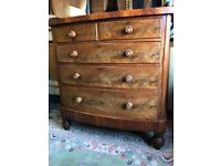 Antique Victorian Mahogany Bow Front Chest Of Drawers - Delivery Available