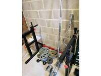 Adjustable squat rack & bench w/ weights & bars