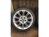 "Genuine BMW staggered 18"" MV2 alloy wheels."