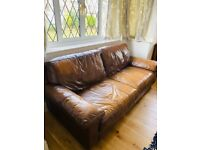 DFS brown 3 seater leather sofa (used)