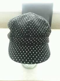 Black and White Polka dot Hat