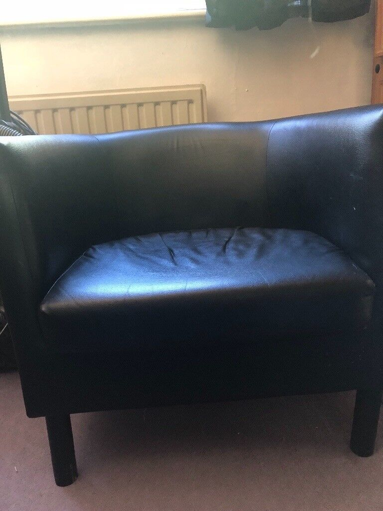 Black leather small tub chair | in Plymouth, Devon | Gumtree
