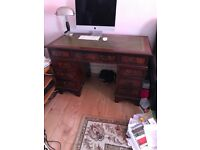 Chesterfield Captain Green Chair & Green Leather Inlay Desk