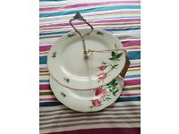 Beautiful 2 tier vintage cake stand with new carry handle