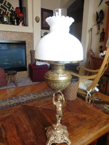 RARE Antique Brass Oil Kerosene Rayo Lamp with Cupid Statue Dated Feb. 28, 05