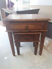 sheesham Jali Indian wood nest of tables side tables with drawers