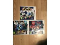 3ds games; Sonic Generations, The Lego movie video game, Epic Mickey power of illusion