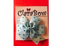 ClaraBow Baby Blue Bow with Diamanté Detailing