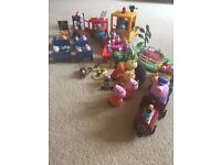 Peppa Pig Bundle inc over 30 characters, school, fire engine & roundabout