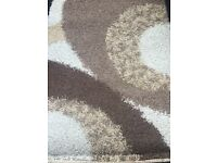 Shaggy large cream and brown rug