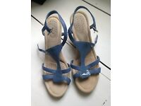 Rockport Blue Wedge Sandals (with built in padded insole) - Size 6