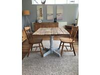 Handmade dining table & 2 dining chairs