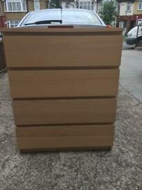 Large 4 draw chest of drawers white stained oak