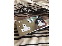 Chrome plug sockets with USB