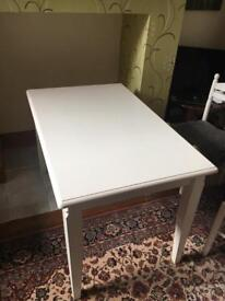 White painted table with 5 chairs