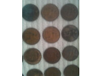 50 + Old english pennys and two George III copper farthings.