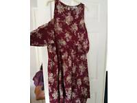 Asos cold shoulder floral dress