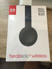 New unopened Beats Solo 3 wireless headphones (Special edition black) and under warranty