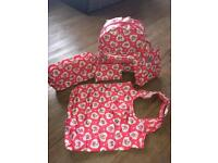 Kid/girls kath kidston 'lace hearts' padded rucksack and matching accessories
