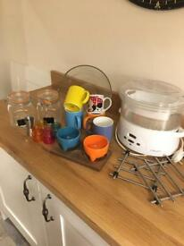 Job lot of kitchen bits. Mugs, steamer, shot glasses