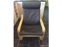 Ikea Poang oak frame brown leather chair