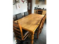 Large 6 seater dining table with 6 chairs