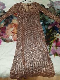 Boohoo golden sequin maxi dress size 8