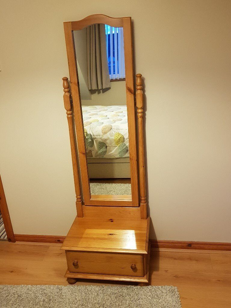Solid Pine Cheval Mirror And Drawer In Ballyclare