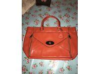 Orange Leather Mulberry Style Large Handbag Immaculate