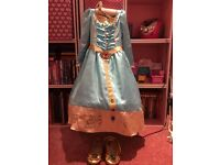 Original Brave Disney dress with crown and shoes