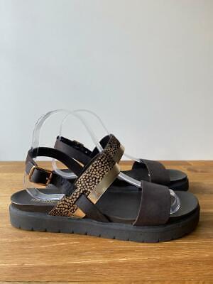 ILSE JACOBSEN Brown Ankle Strap Metallic Gold Print Sandals Size EUR39 UK6  £90