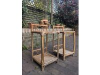 2 x Rattan / wicker / bamboo side tables
