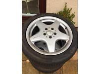 4 x Mercedes Benz alloy wheels with continental tyres - AMG
