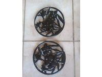 2 x Floral Pattern Cast Iron Trivets