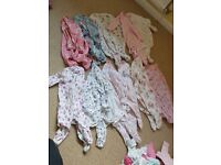 Bundle of baby girl clothes - new born and 0-3 months