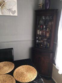 Corner Wenge Glass storage cabinet