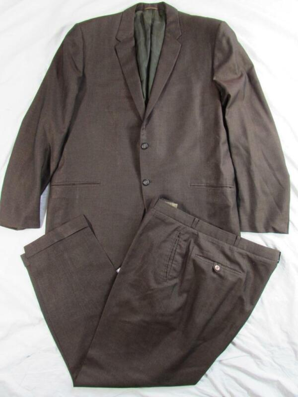 Vtg 60s 1964 2Pc Shiny Sharkskin Wool Suit Jacket & Pant Hollywood Hand Tailored