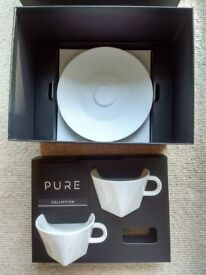 2 Nespresso Pure Collection, white porcelain, Cappuccino Cups and Saucers. Brand new in box.