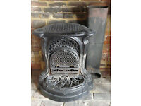 Antique cast iron French open fireplace, complete, GC
