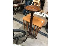 Leather top plant table or plinth