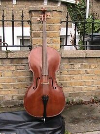 Full sized cello with bow and cover