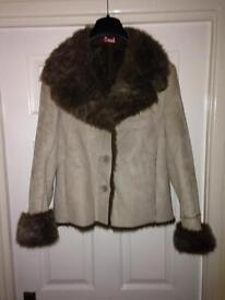 Monsoon faux sheepskin ladies jacket with fur trim