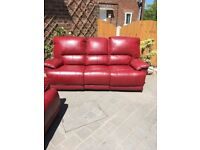 leather 3 & 2 seater reclining sofas soft leather unmarked can deliver